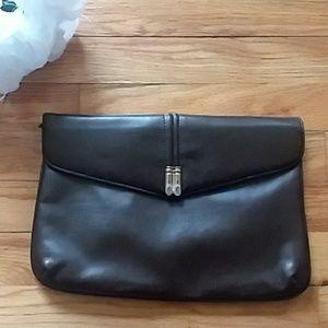 Handbags - VINTAGE Brown Faux Leather Envelope Clutch